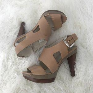 Michael Kors Beige Heeled Leather Platform Sandal